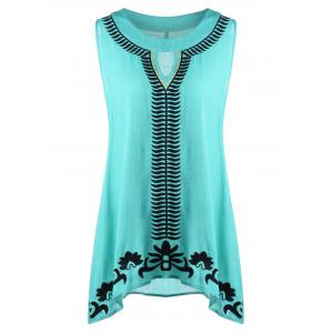 Plus Size Embroidery Keyhole Neck Sleeveless Blouse