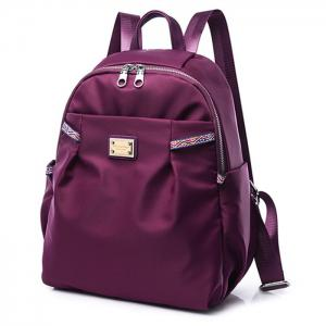 Casual Nylon Backpack with Ethnic Trim - PURPLE