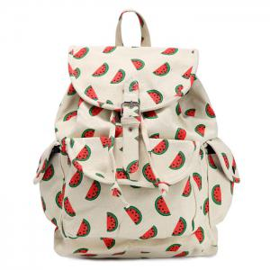 Canvas Fruit Printed Backpack - Red - 40