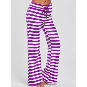 Stripe Wide Leg Pants - Purple - L