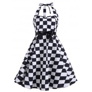 Checked Print Plus Size Halter Vintage Dress