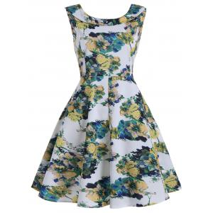 Flower Ink Painting Print Plus Size Dress