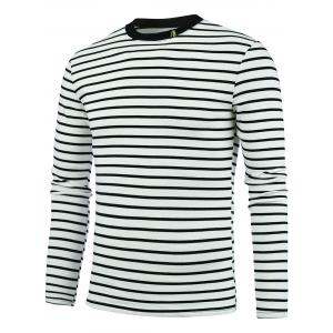 Chinese Character Embroidery Stripe Tee - Off-white - 3xl