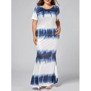 Plus Size Tie Dye Print Bodycon Maxi Dress