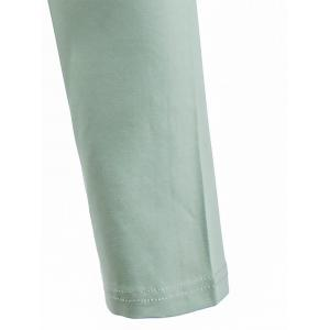 Notch Neck Long Sleeve Patch Tee - GREEN 3XL