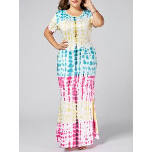 Plus Size Colorful Ombre Long Bodycon Dress - Tutti Frutti - 2xl