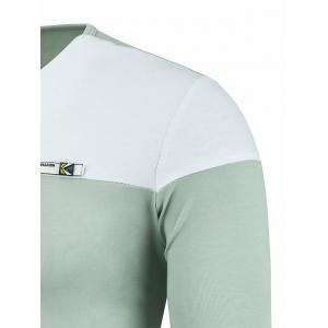 Two Tone Notch Neck Patch Tee - LIGHT GREEN 3XL