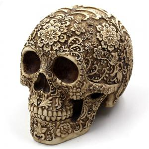 Halloween Spoof Props Flower Skull Resin Ornament