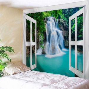 Waterfall Scenery 3D Window Throw Wall Tapestry - Colormix - W71 Inch * L91 Inch