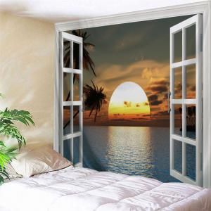 Faux Window Sunset Landscape Wall Hanging Tapestry