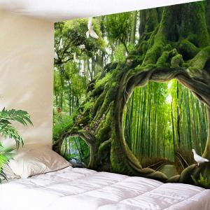 Wall Hanging Forest Life Tree Print Tapestry - Green - W79 Inch * L59 Inch