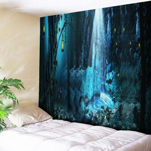 Wall Hanging Magic Forest Print Tapestry - Blue - W79 Inch * L59 Inch