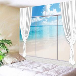 French Window Beach Print Tapestry Wall Hanging Art Decoration