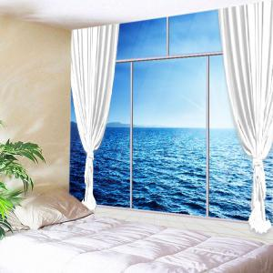 French Window Ocean Print Tapestry Wall Hanging Art Decoration