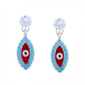 Rhinestone Devil Eye Earrings - Blue - 8