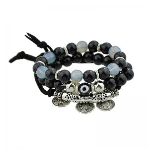 Coin Eye Charm Beaded Bracelet Set - Black