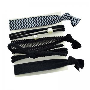 Artificial Pearl Bows Elastic Hair Band Set - Black