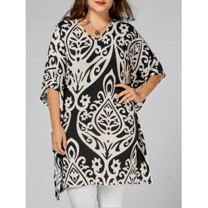 Plus Size Printed Butterfly Sleeve Long Top - Floral - 5xl