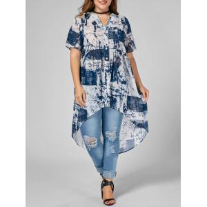 Printed Chiffon High Low Plus Size Top