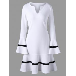 Flare Sleeve Split-Neck Dress - White - L