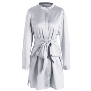Mini Satin Shirt Dress with Sleeves - GRAY XL