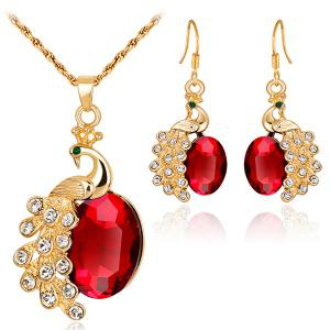 Peacock Shape Faux Gem Rhinestone Jewelry Set - Red