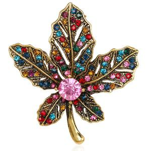 Multicolor Rhinestone Maple Leaf Retro Brooch