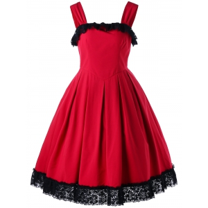 Cocktail Sleeveless Lace Trim Vintage Dress