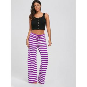 Stripe Wide Leg Pants - PURPLE S