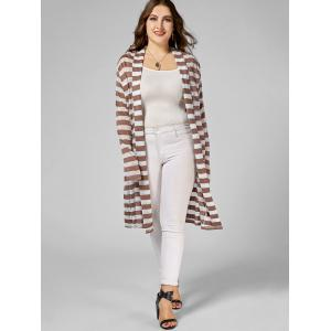 Stripe Open Front Longline Plus Size Coat -