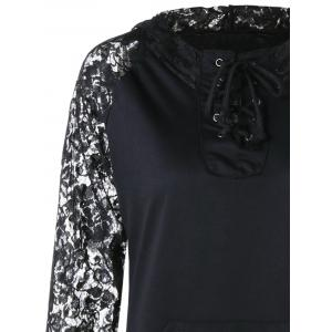 Lace Panel Lace Up Hoodie - BLACK L