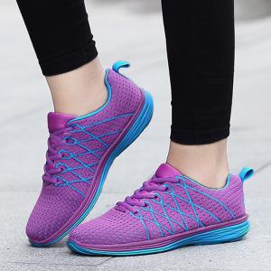 Breathable Geometric Pattern Athletic Shoes - PURPLE 39