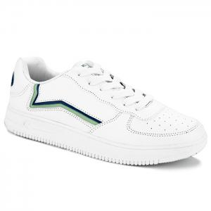 Breathable Colour Block Faux Leather Casual Shoes - White - 40