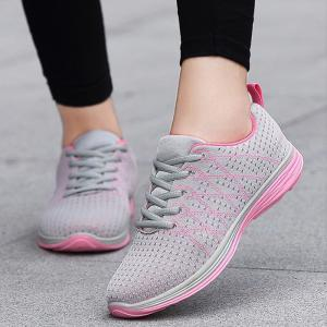 Breathable Geometric Pattern Athletic Shoes - PINK AND GREY 40