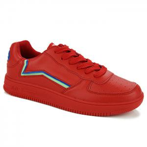 Breathable Colour Block Faux Leather Casual Shoes - Red - 42
