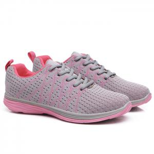 Breathable Geometric Pattern Athletic Shoes - Pink And Grey - 40