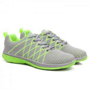Breathable Geometric Pattern Athletic Shoes - Grey + Fluorescent Green - 39
