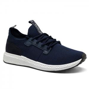 Breathable Elastic Band Tie Up Casual Shoes - Deep Blue - 44