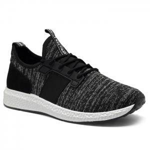 Breathable Elastic Band Tie Up Casual Shoes - Black - 40