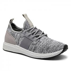 Breathable Elastic Band Tie Up Casual Shoes - Gray - 44