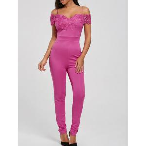 Lace Applique Cold Shoulder Jumpsuit