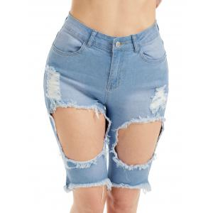 Distressed High Waist Bermuda Jean Shorts