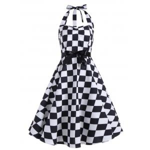 Checked Print Halter Backless Sleeveless Vintage Dress
