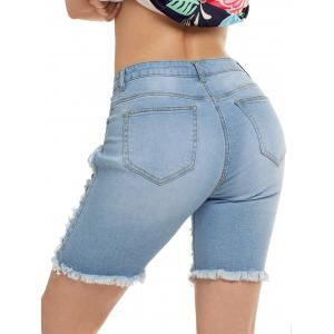 Ripped Bermuda Jean Shorts -