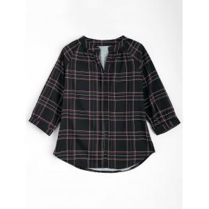 Plaid V Neck Raglan Sleeve Blouse - Black - Xl