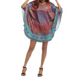 Retro Batwing Sleeve Tribal Print Mini Dress