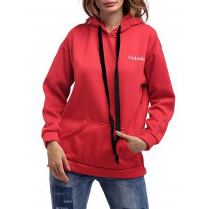 Letter Embroidery Drawstring Graphic Hoodie - Red - One Size