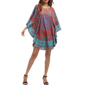 Retro Batwing Sleeve Tribal Print Mini Dress - COLORMIX ONE SIZE