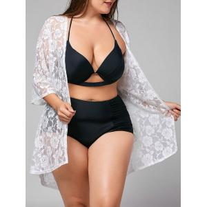 Plus Size Kimono Lace Sheer Cover-up - White - One Size