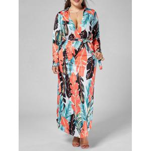 Plunging Neck Plus Size Palm Leaf Print Dress